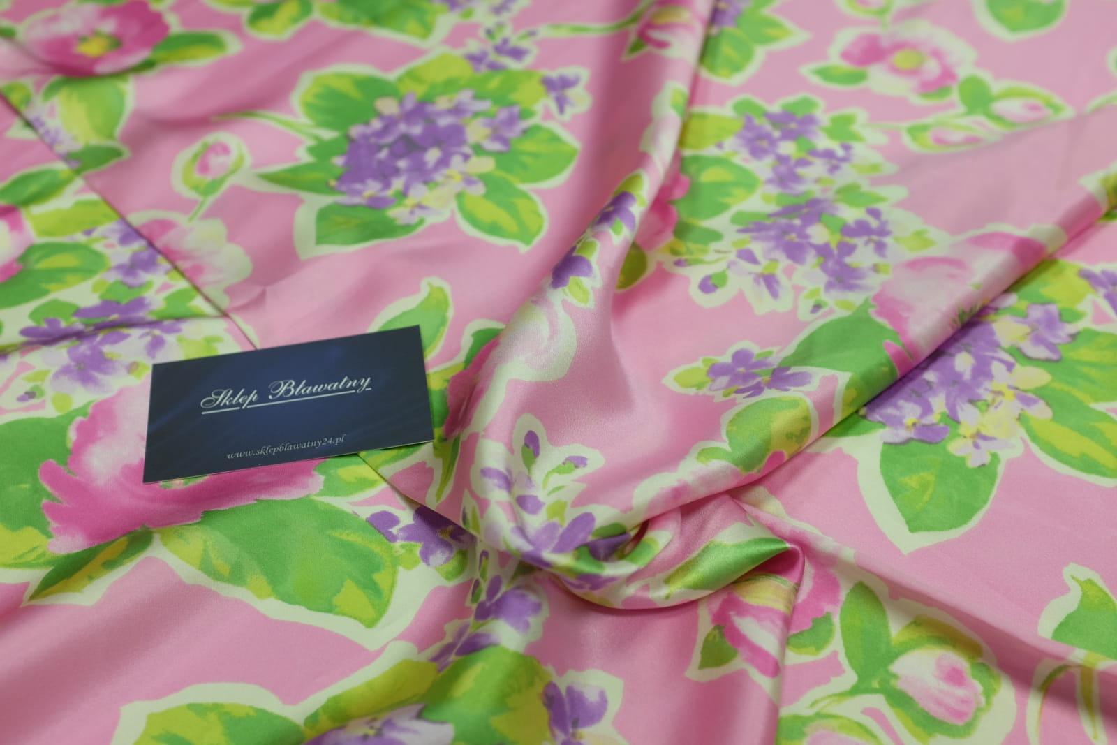 655325114d Jedwab Naturalny Satyna Blumarine Roso Jedwabie tkaniny sklep ...
